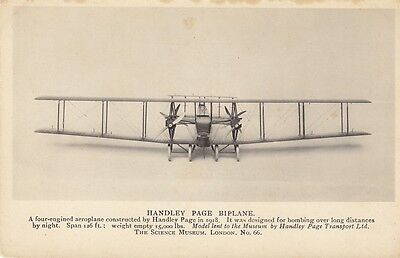 Black & White Aircraft Postcard - Handley Page Bi-Plane