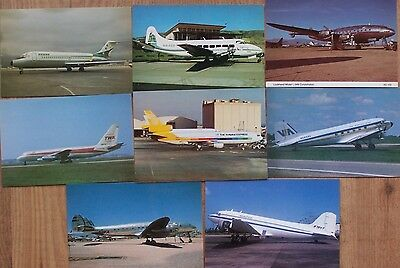 Civilian Aviation Postcards 8 x American Airliners