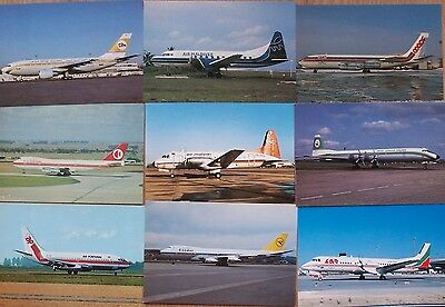 Civilian Aviation Postcards 9 Assorted Airliners
