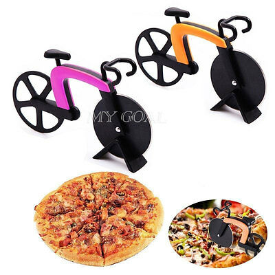 Bicycle Bike Wheel Pizza Cutter Pancake Chopper Slicer Stainless Kitchen Tool