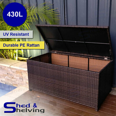 430L Outdoor Sturdy Rattan Storage Box Pool Toys Cushion Blanket PE Wicker Chest
