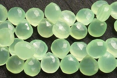 Prehnite Green Chalcedony Faceted Heart Shaped 10mm Briolette Beads 10 pieces