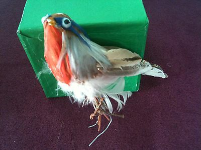 Vintage Christmas Decoration pair of real feather birds c1960