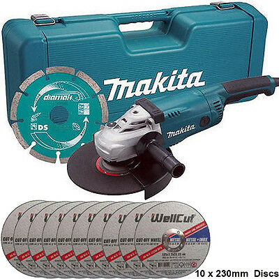 """Makita GA9020KD 9""""/230mm Angle Grinder 110V With Case + Extra 10 Metal Cut Discs"""