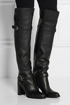 Womens High Heel Platform Buckle Pull On Motorcycle Over The Knee High Boot US7