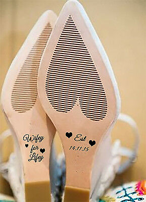 Personalised Wedding Shoe Decals/stickers Wifey For Lifey Est In Avail In 8 Cols