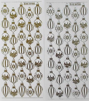 Christmas Baubles Type 1 Double Embossed Clear PEEL OFF STICKERS Cardmaking