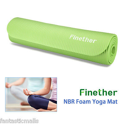 10mm NBR Non Slip Foam Yoga Mat Gym Exercise Thick Fitness Physio Pilates Green