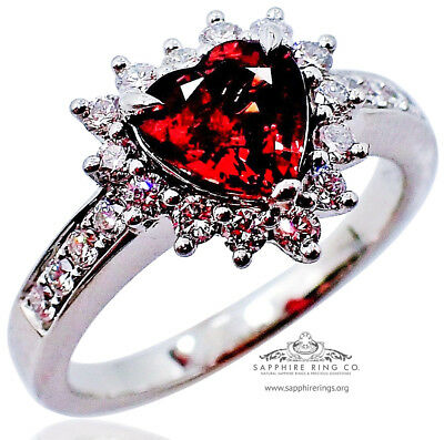GIA Untreated Platinum 1.62tcw Heart Cut Reddish Natural Sapphire & Diamond Ring