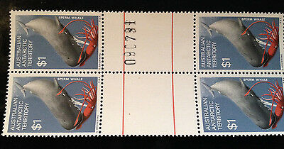4 x MUH 1973 Australian Arctic Food Chains -Perm Whale stamped$1 Gutter stamps