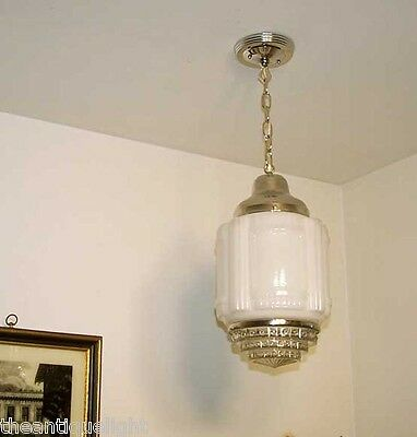 101 Vintage aRT DEco 30's 40's Chrome Ceiling Light Lamp Fixture Glass hall bath