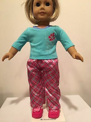 American Girl Doll Petals And Plaid Pajamas And Slippers
