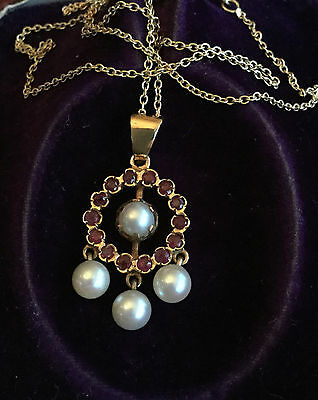 Antique, Art Deco 9ct Ruby & Saltwater Cultured Pearl lavaliere, Necklace C1920