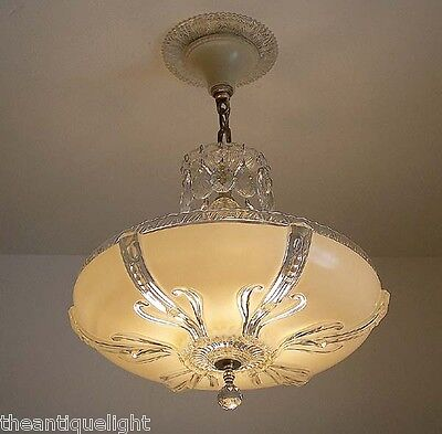 549 30's 40's Vintage Ceiling Light Lamp Fixture Glass Chandelier Re-Wired