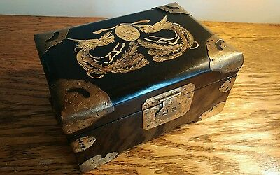 Pretty Vintage Oriental Ebonised Jewellery Box With Mother Of Pearl Decoration