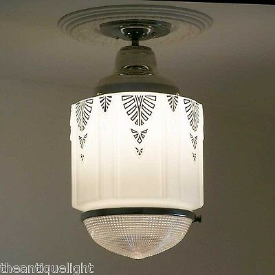 801 Vintage aRT DEco 30's 40's Chrome Ceiling Light Lamp Fixture Glass hall bath