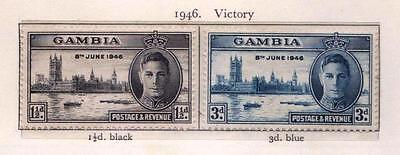 Gambia 1946 Victory Set of 2 Stamps (SG 162/3) Mint