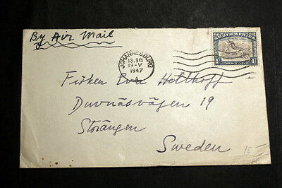South-Afirca 1947 cover to Sweden