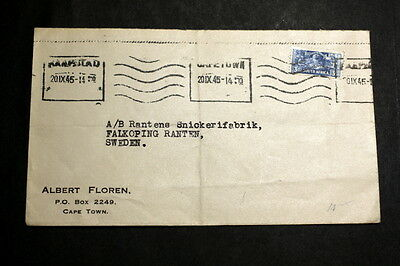 South-Afirca 1945 cover to Sweden