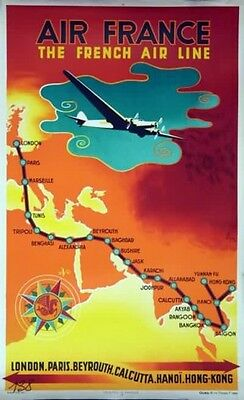 Affiche Air France - The French Air Line - N.Gerale 1939