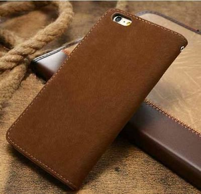 Magnetic Brown Flip Wallet Swede Leather Case For Samsung Galaxy Note4 {{nk42