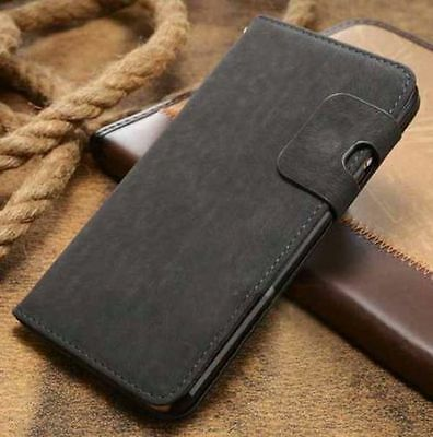 Magnetic Grey Flip Wallet Swede Leather Case For Samsung Galaxy S4 {{nk50