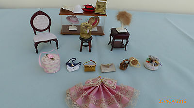 Dolls house hat shop furniture and accessories