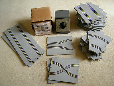 Airfix Slot Car Track Job Lot Grey Rough Feel, Corners Bends Chicanes Controller