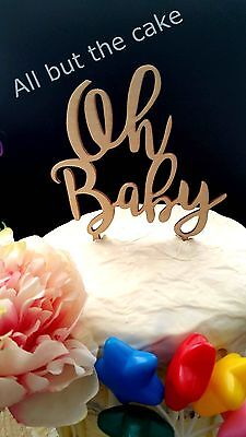 "Raw Wood ""Oh Baby"" Cake Topper decoration baby shower reveal party laser cut"