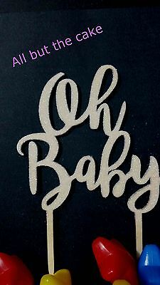 White Pearly glittery Oh Baby Cake Topper decoration timber wood baby shower