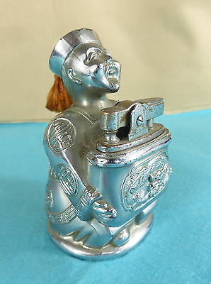 Chinese Silver Plate Cigarette Lighter Holder Buddha Hat Wise Man Tassle Dragons
