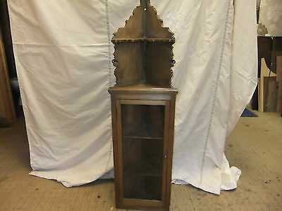 Lovely Old Quality 'Country' Solid Pine Vintage / Antique Hanging Corner Cabinet