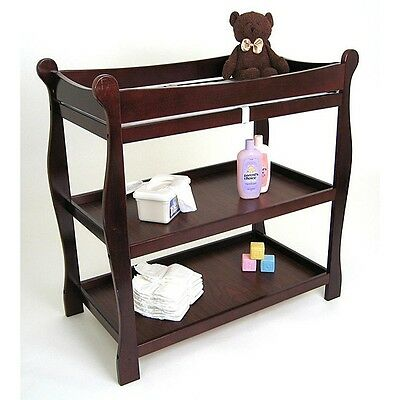 Diaper Changing Table Infant Baby Nursery Furniture Cherry Wood Pad Safety Strap