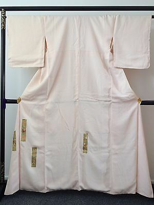 Vintage authentic handmade Japanese silk kimono for women, light pink (F684)