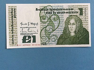 IRELAND LADY LAVERY ONE POUND PUNT BANKNOTE 1985 aUNC