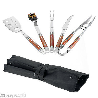 5pc BBQ Tool Set Stainless Steel Spatula Tongs Knife Brush Fork Barbecue Utensil