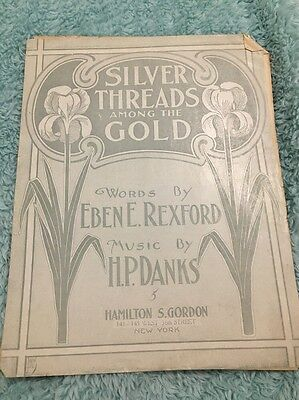 Piano Sheet Music Vintage, SILVER THREADS AMONG THE GOLD