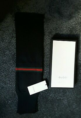 Childrens Boys Gucci scarf. Black with Web detail. 100% wool. Gift boxed