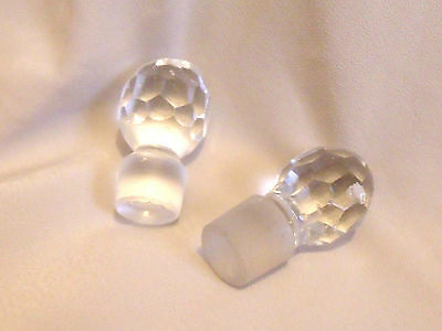 Pair Faceted Glass Stoppers For Perfume / Cruet Bottles
