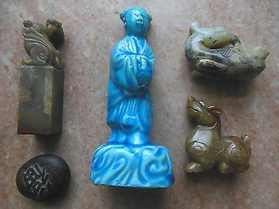 Antique Chinese Statue Ink Seal Carving Lot (5)