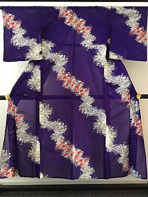 Vintage authentic handmade Japanese see through summer kimono, purple (F685)