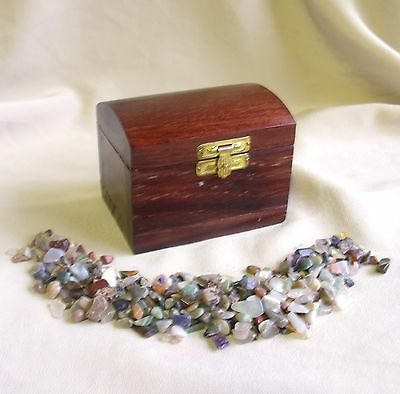 Great Wooden Treasure Chest & Array Of Crystal Gemstone Chiplets