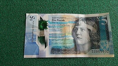 Royal Bank of Scotland RBS Polymer £5 Replacement Note Very Low ZZ Code 005632