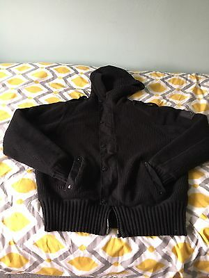 Men's Firetrap Knitted Fur Lined Hooded Zip Up Jacket, Size Large
