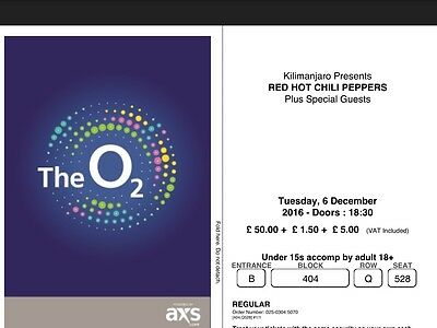 Ticket for Red Hot Chilli Peppers O2 Tuesday Dec 6