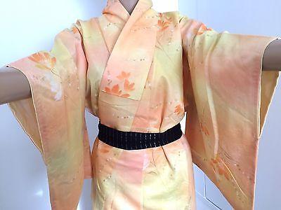 Vintage authentic handmade Japanese silk kimono, orange & yellow, flowers (I686)