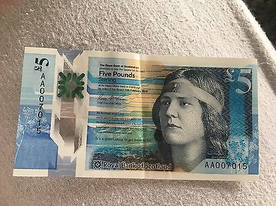 Scottish polymer £5 note. AA00 rarest 1st edition note. Uncirculated