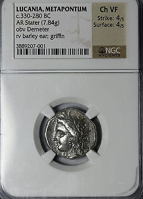 Lucania Metapontum 330-280 BC Stater NGC Graded CH VF Ancient Greek Silver Coin