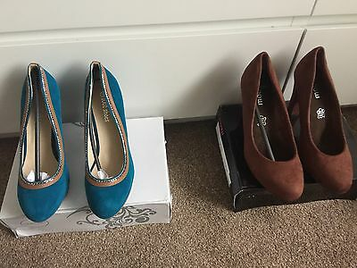 Bundle Of New Ladies Heeled Shoes Brown And turquoise Blue Suede Size 6 Eu 39