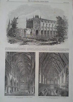 1864 Print Chateau Of Chenonceaux-Bromley College,kent-Vauxhall Garden's Church